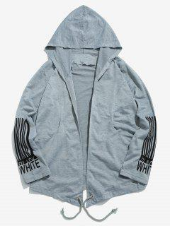 Sleeve Striped Letter Open Front Jacket - Light Gray M