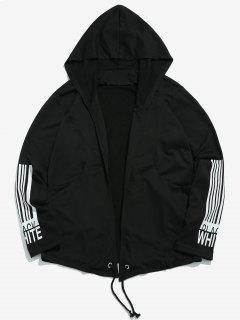 Sleeve Striped Letter Open Front Jacket - Black L