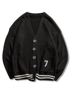 Stripe Bottom Number Loose Cardigan - Black M