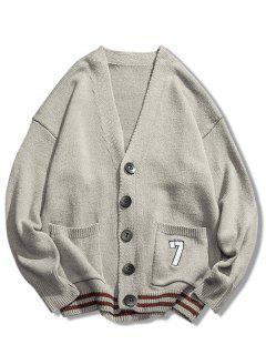 Stripe Bottom Number Loose Cardigan - Light Gray 2xl