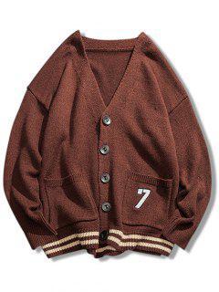 Stripe Bottom Number Loose Cardigan - Coffee M