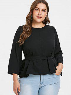 Plus Size Peplum Belted Blouse - Black 3x