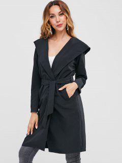 Knee Length Hooded Wrap Coat - Black M