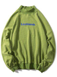 Loose Letter Pullover Casual Sweatshirt - Yellow Green M