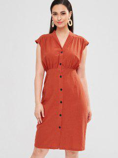 ZAFUL Button Up Sleeveless Casual Dress - Chestnut Red S