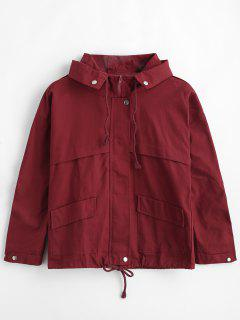 Hooded Drop Shoulder Zipper Jacket - Red Wine M
