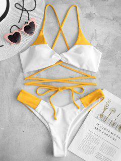Conjunto De Bikini De Dos Tonos ZAFUL Con Cordones Y Giro - Amarillo Brillante S