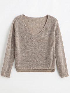 ZAFUL Mixed Yarn Boxy Fine Knit Sweater - Light Brown S