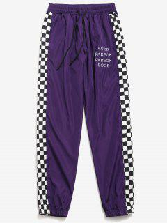 Side Checked Print Letter Jogger Pants - Purple 2xl