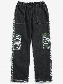 Camouflage Denim Patchwork Casual Pants - Camouflage Green M