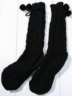 Solid Color Rhombus Knitted Socks - Black