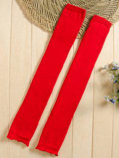 Solid Color Knitted Leg Warmers - Red