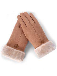 Letter Label Fuzzy Winter Gloves - Khaki Rose