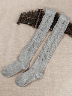 Solid Color Fold High Knees Socks - Dark Gray