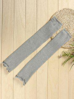 Solid Color Knitted Leg Warmers - Gray Cloud
