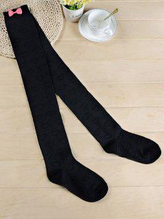 Cute Bowknot Heart Thigh High Socks - Black