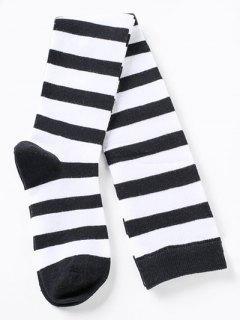 Elegant Thigh High Striped Socks - Multi-d