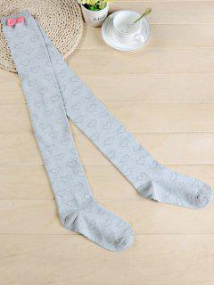 Cute Bowknot Heart Thigh High Socks - Light Gray
