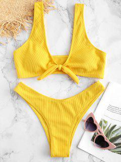 Tie Front Ribbed Bikini Set - Yellow L