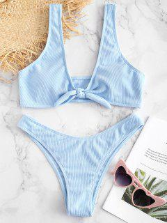 Tie Front Ribbed Bikini Set - Light Sky Blue L