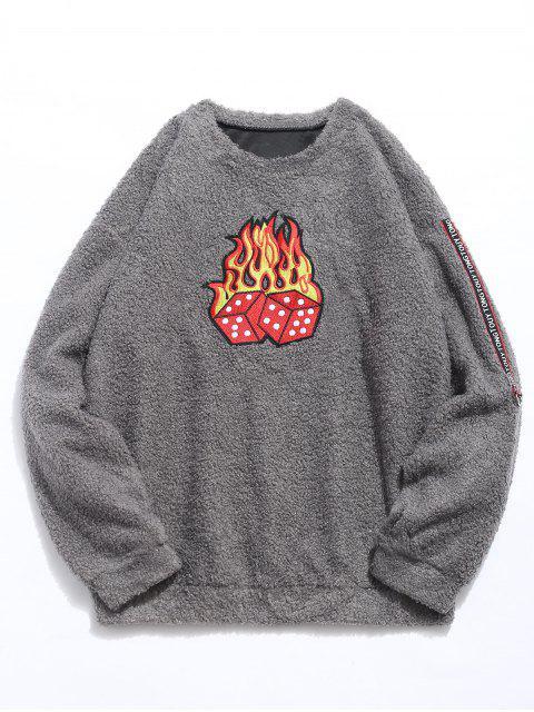 fashion Dice Print Faux Fur Sweatshirt - GRAY XL Mobile