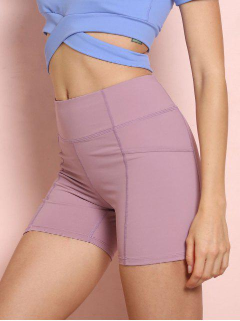 online High Waisted Pockets Sports Shorts - PINK L Mobile