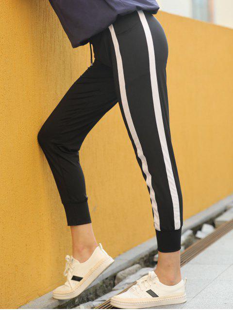women Contrast Drawstring Sports Jogger Pants - BLACK L Mobile
