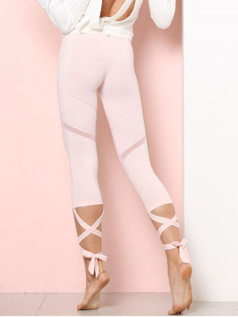 outfits Sports Mesh Panel Cross Tied Crop Leggings - PINK BUBBLEGUM S Mobile