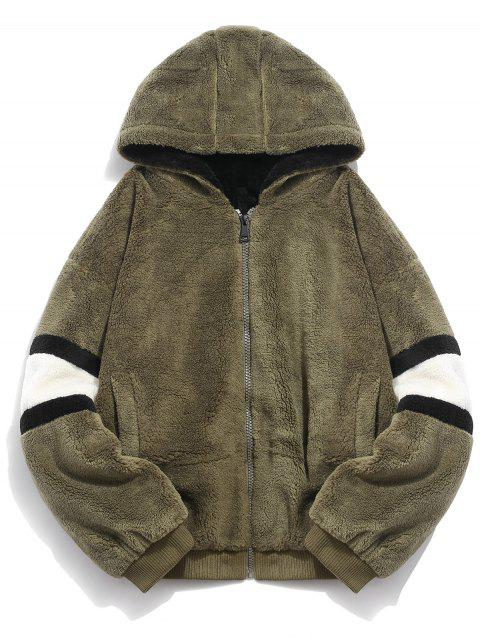 shops Faux Fur Panel Hooded Coat - ARMY GREEN 2XL Mobile