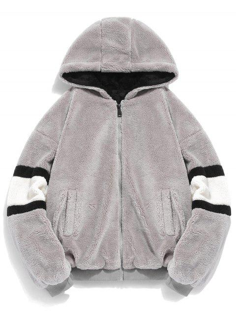 chic Faux Fur Panel Hooded Coat - DARK GRAY 2XL Mobile