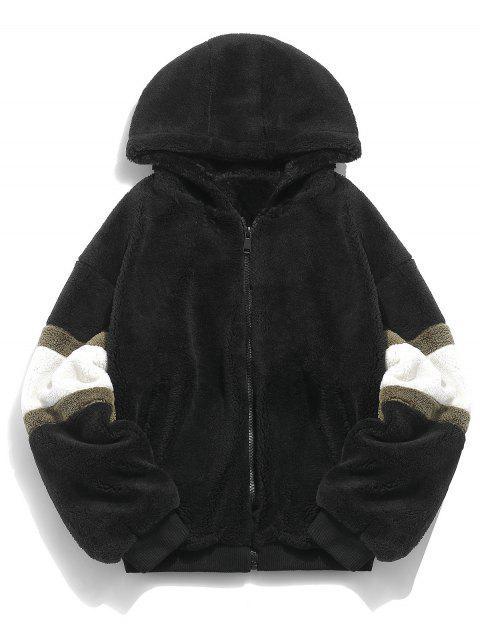 affordable Faux Fur Panel Hooded Coat - BLACK L Mobile