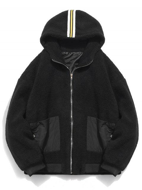new Faux Fur Hooded Zip Up Coat - BLACK 2XL Mobile