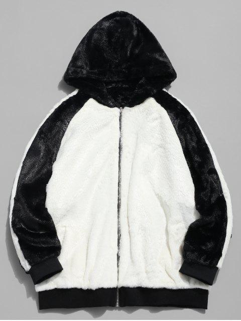 chic Hooded Faux Fur Color Block Coat - WHITE 2XL Mobile