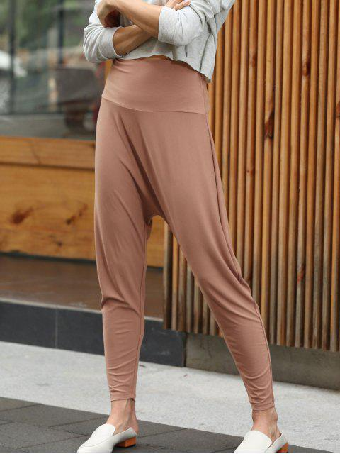 best ZAFUL High Waisted Harem Hammer Pants - ORANGE SALMON L Mobile