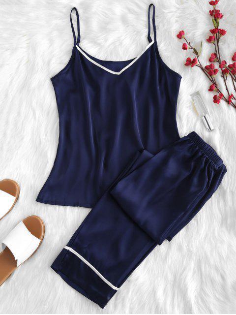 online Satin Cami Top and Pants Pajama Set - NAVY BLUE L Mobile