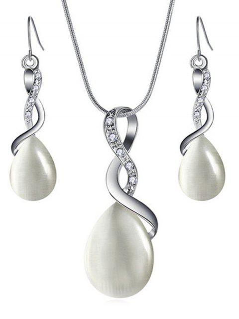 outfit Sparkly Rhinestone Inlaid Water Drop Jewelry Set - WARM WHITE  Mobile