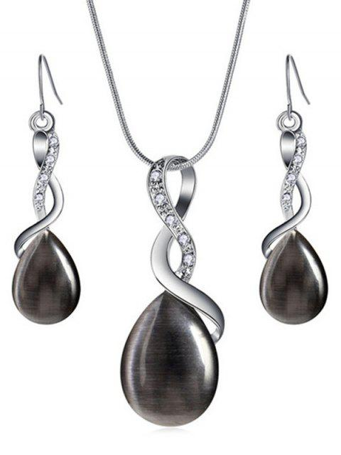 shop Sparkly Rhinestone Inlaid Water Drop Jewelry Set - BLACK  Mobile