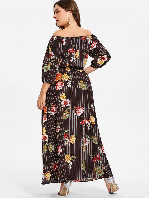 trendy Plus Size Striped Flower Smocked Dress - BLACK 2X Mobile