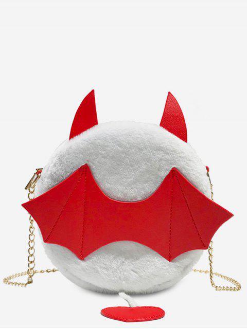 Kunstpelz Halloween Fledermaus Umhängetasche - Weiß  Mobile