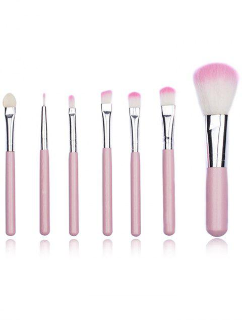 shop Portable 7Pcs Ultra Soft Eyeshadow Blending Powder Brush Set - PINK REGULAR Mobile
