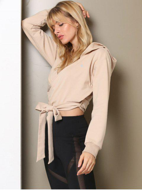 best ZAFUL Drop Shoulder Wrap Hoodie - LIGHT KHAKI L Mobile