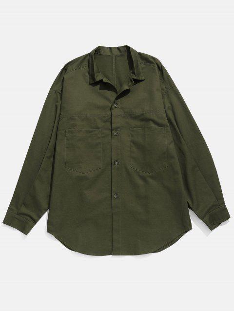 Chemise à Goutte Epaule à Manches Boutonnées - Vert Armée  L Mobile
