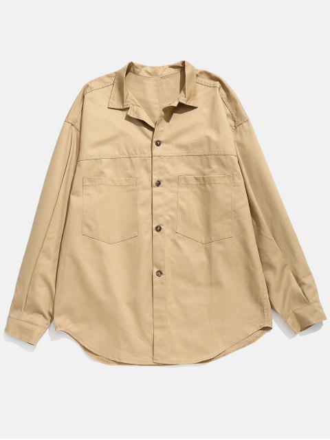 Drop-Shoulder Ärmel Button Fly Shirt - Vanille M Mobile