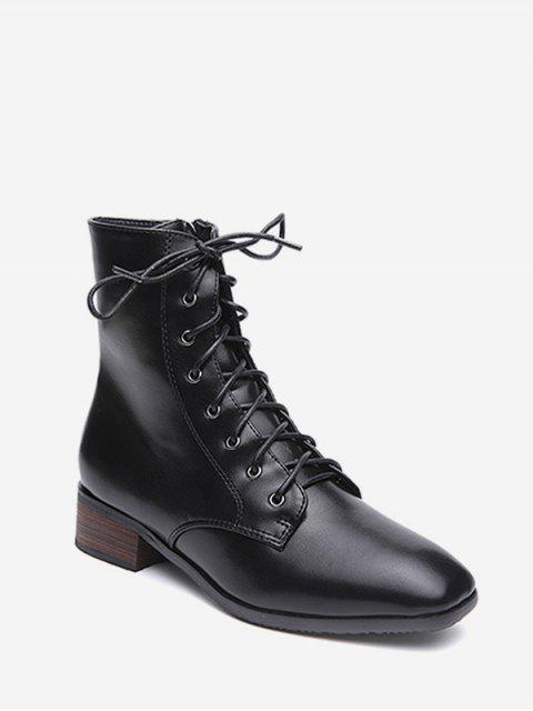 online Lacing Low Chunky Heel Ankle Boots - BLACK EU 39 Mobile