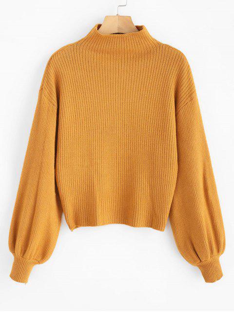 womens Lantern Sleeve Mock Neck Plain Sweater - ORANGE GOLD ONE SIZE Mobile