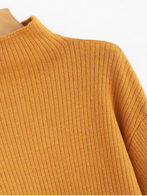 womens Solid Lantern Sleeve Mock Neck Plain Sweater - ORANGE GOLD ONE SIZE Mobile