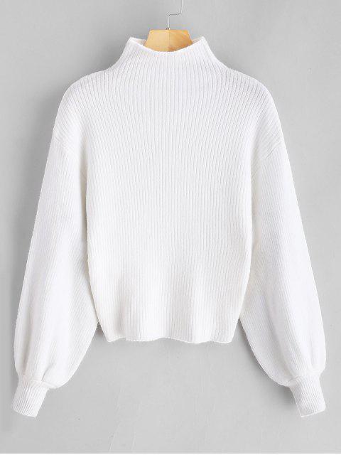 new Lantern Sleeve Mock Neck Plain Sweater - WHITE ONE SIZE Mobile