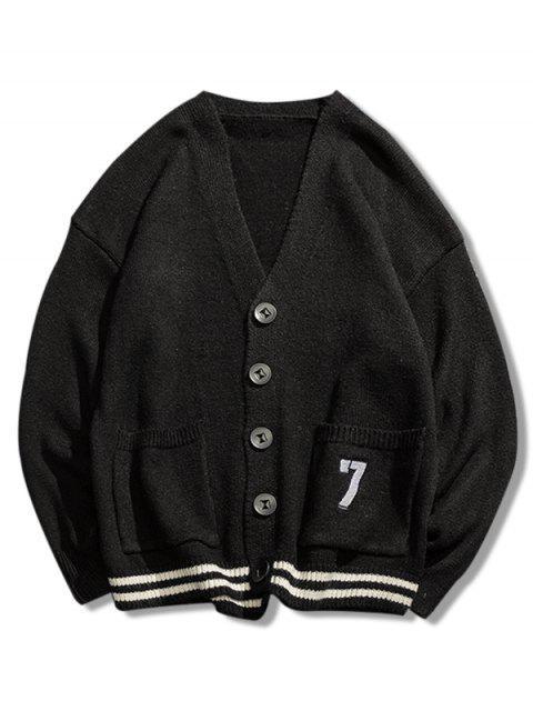 best Stripe Bottom Number Loose Cardigan - BLACK M Mobile