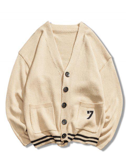 trendy Stripe Bottom Number Loose Cardigan - CORNSILK 2XL Mobile