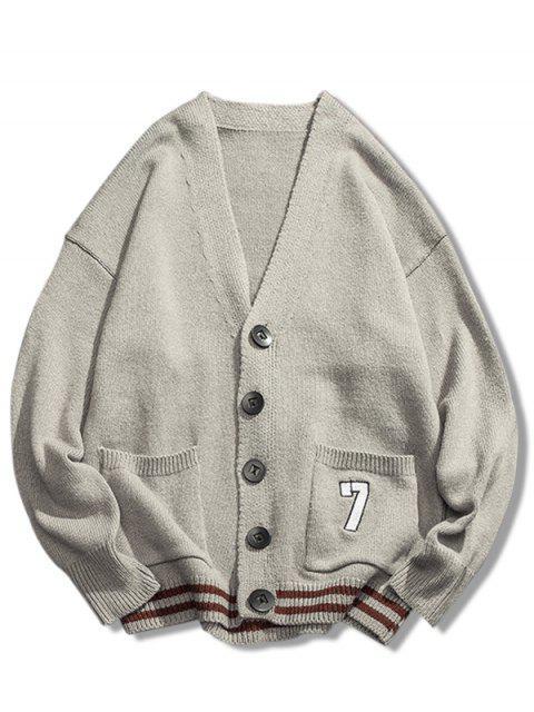 online Stripe Bottom Number Loose Cardigan - LIGHT GRAY M Mobile